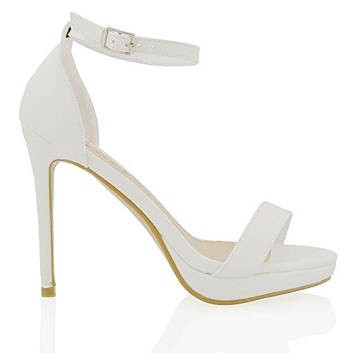 Essex Glam Womens Platform High Heel Peep Toe Ankle Strap Sandals Shoes White Synthetic Leather LG69JTMugK