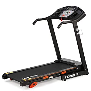 """ECHANFIT Folding Treadmill Home Electric Motorized Running Machine with 17""""Wide Tread Belt LCD Display 15 Preset Programs 8.5 MPH Max Speed and Cup Holder Easy Assembly"""