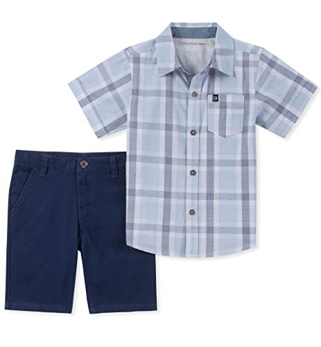 Calvin Klein Boys' Toddler 2 Pieces Shirt Shorts Set, Light Blue, 2T