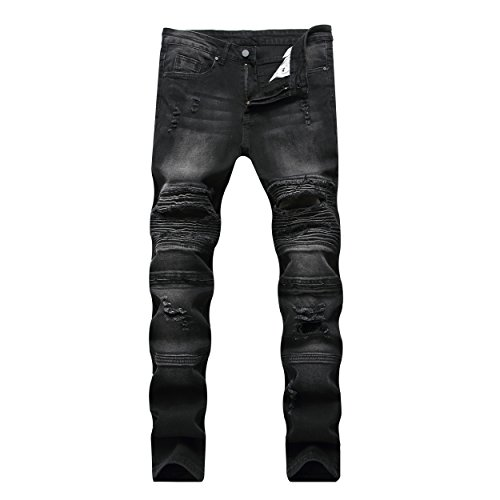 Liuhond Skinny Fashion Men's Ripped Straight Holes Hip Hop Biker Stretchy Jeans (34Wx31L, Black) by Liuhond