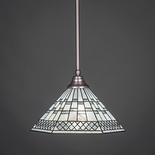 Pewter Finish Glass Pendant Lamp - Toltec Lighting 26-BN-910 Stem Pendant Light Brushed Nickel Finish with Pewter Tiffany Glass, 16-Inch