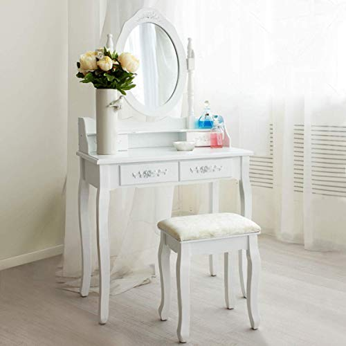 Giantex Vanity Set with Oval Mirror and 4 Drawers, Makeup Dressing Table with Cushioned Stool, Modern Bedroom Bathroom Dressing Table for Women Girls White