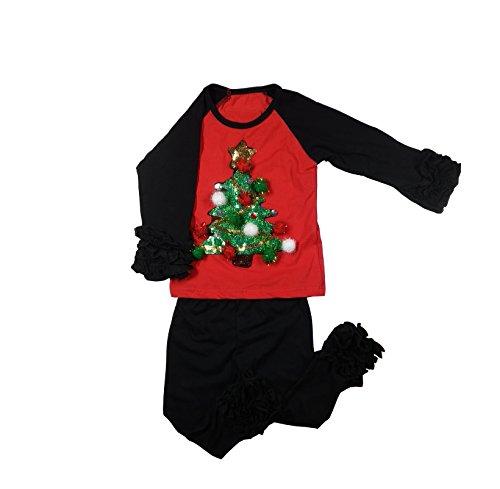 (CloudCreator Toddler Raglan Ruffle Shirts Christmas Baby Girls Boys Long Sleeve T-Shirt Baseball Tee Cotton Shirt for Unisex Kids)