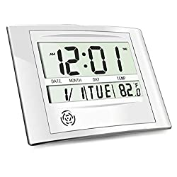 HeQiao Digital Wall Clock Brushed Aluminum LCD Desk Alarm Clock with Temperature (Luxury Silver)