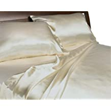 Divatex Home Fashions Royal Opulance Luxurious Satin Queen Sheet Set,Ivory