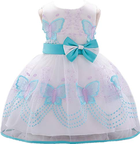 (Baby Girl Dresses Ruffle Lace Pageant Party Wedding Flower Girl Dress Azure Blue)