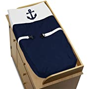 Sweet Jojo Designs Baby Changing Pad Cover for Anchors Away Nautical Navy and White Collection