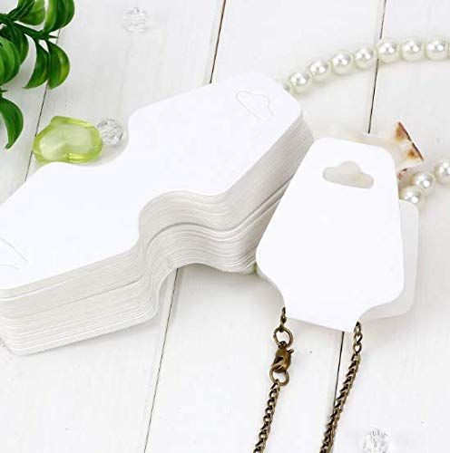 (VNDEFUL 100PCS 4.5cm x 10cm Blank White Kraft Paper Jewelry Necklace Bracelet Display Hanging Cards Price)