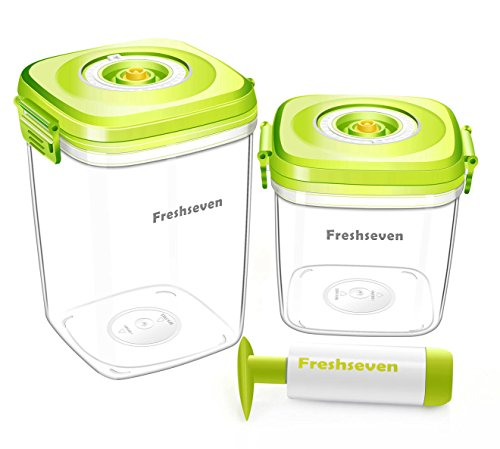 Freshseven Vacuum Seal Air-tight Versatile Food Container and Instant Marinator with a Pump- High Square Set of Two- 2.1 Quart + 1.4 Quart Made of BPA-free Tritan Microwave Safe Diswasher (Vacuum Food Marinator)