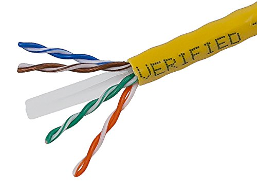 Monoprice 1000-Feet 23 AWG Cat6 500Mhz UTP CMR Solid Bulk Bare Copper Ethernet Cable - Yellow (108109) by Monoprice
