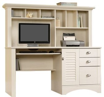 Beadboard Panel Hutch - Computer Desk with Hutch Made of Engineered Wood Accommodates Dual Monitors Detailing Includes Bead Board Back Panel Desk Does Not Have Any Chemical Smell