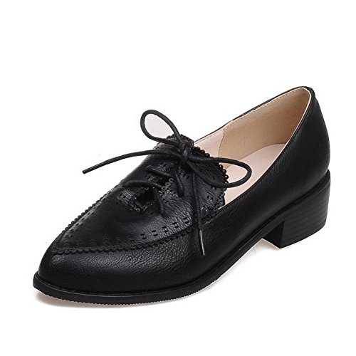 VogueZone009 Women's Pointed Closed Toe Lace-up PU Solid Kitten-Heels Pumps-Shoes Black