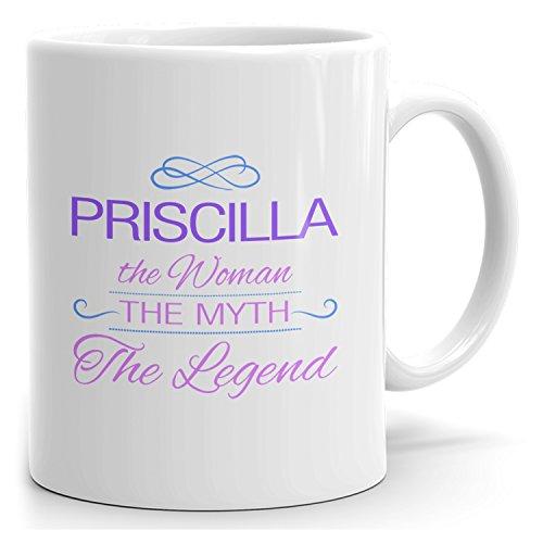 Priscilla tea mug - The Woman The Myth The Legend - at Home or in the Office - 15oz White Mug - Purple