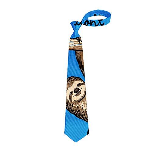 (Animal Ties, Men's Skinny Neckties Funny Sloth Climbing Silk Tie)