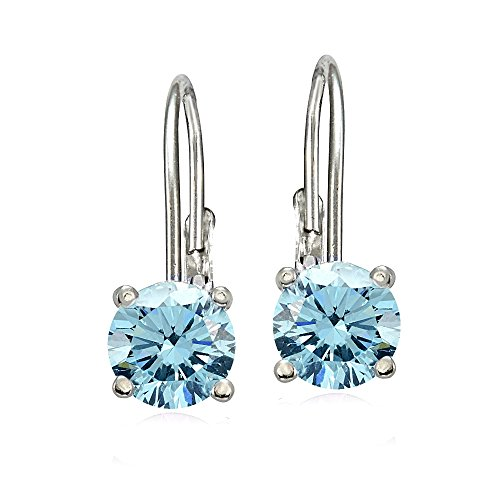 Bria Lou 925 Sterling Silver 6mm Round March Birthstone Color Leverback Drop Earrings Made with Swarovski Crystals