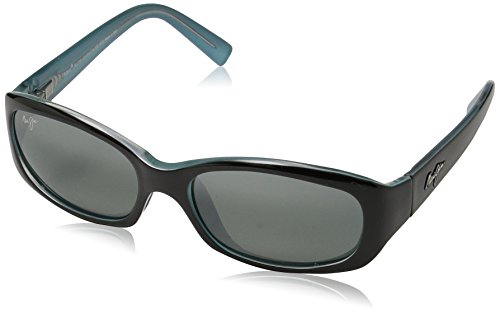 Maui Jim Punchbowl 219-03 Polarized Rectangular Sunglasses,Black & Blue Frame/Neutral Grey Lens,One Size