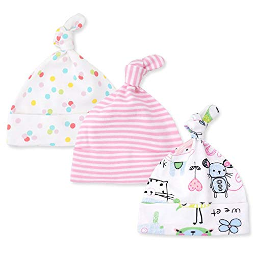 3Pcs/Set Newborn Baby Knot Cotton Hat Cartoon Printed Striped Beanie Cap Elastic,4,One Size for $<!--$13.67-->