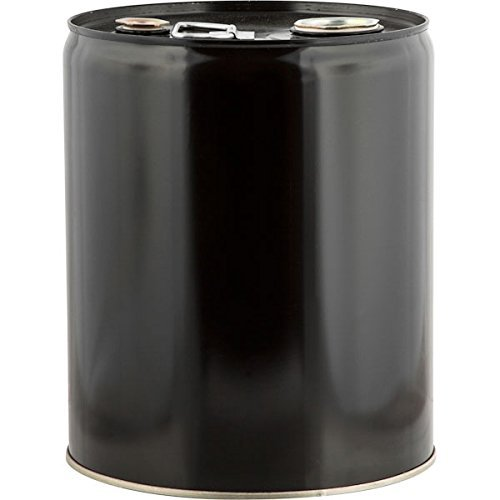 5 Gallon Tight Head Steel Black Pail, Rust Inhibitor Unlined W/Trisure Fitting-2''Npt & 3/4''Npt by BayTec Containers