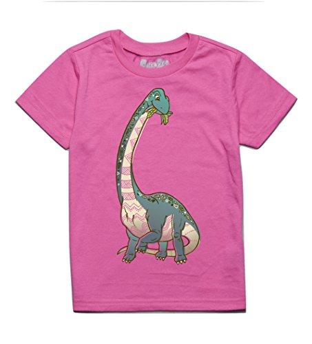 Peek-A-Zoo Toddler Short Sleeve Tshirt - Brachiosaurus Neon Pink - 3T