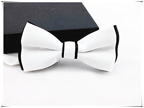 - Asian Cookie - Handmade Dog/cat Bow Tie for Medium & Large Pets (Free Attached Soft Fabric Collar) Double Layer Butterfly Design (White)
