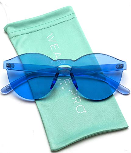WearMe Pro - Colorful Transparent Round Super Retro Sunglasses (Blue, 59)