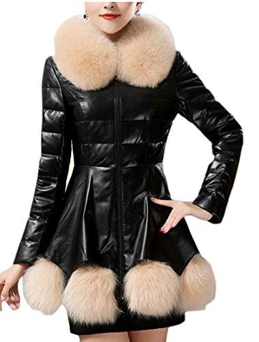 EKU Women's Thick Warm Tunic Overcoat 1 Leather Collar Jacket Fashion ddSwEXxr