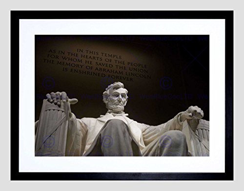 PHOTO LANDMARK STATUE ABRAHAM LINCOLN MEMORIAL USA FRAMED ART PRINT (Lincoln Memorial Framed Photograph)