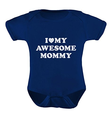 [I Love My Awesome Mommy Cutest Gift for Mother's Day Baby Bodysuit Newborn Navy] (Best Baby Boy Clothes)