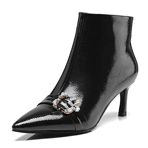 HRCxue Pumps Knöchellanger Damenstiefeletten mit Strassbesatz sexy schwarz 38