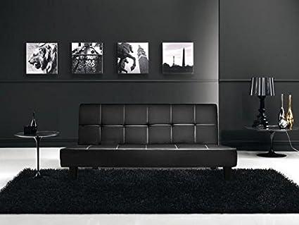 Bagno Italia Sofá Cama Reclinable 180x97x36 en Cuero Artificial Negro, 3 Puestos con Sistema antivuelco