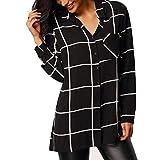 ManxiVoo Women's Button up Plaid Blouse Shirt Casual Lapel Long Sleeve T-Shirt Top (S, Black)