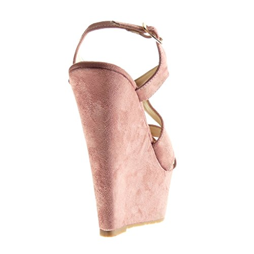 Angkorly - Scarpe da Moda sandali Mules zeppe donna tanga Tacco zeppa piattaforma 15 CM - Rosa