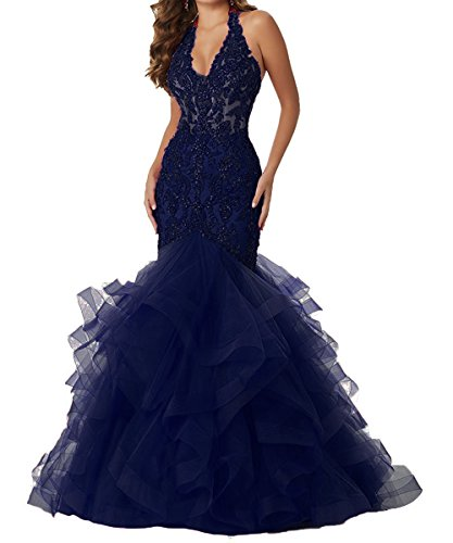 Formal Long Lace Ball Gown BessDress Dresses Halter Blue Prom Mermaid Navy Evening BD418 zX8q08A