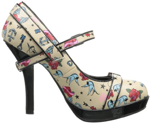 zapatos Print Couture Cream Pinup Pu Tattoo tacón de mujer 17HBxq