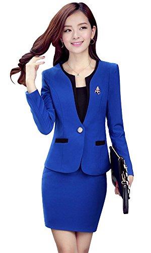 Kangqifen Women's Long Sleeve Business Offcie Suit Skirt Set (Small, Royal Blue) by Kangqifen (Image #3)