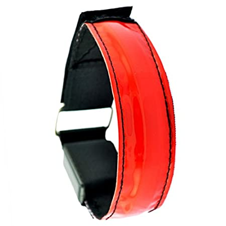 battery Not Included Red Led Safety Reflective Belt Strap Snap Wrap Arm Band Armband Running Bracelet