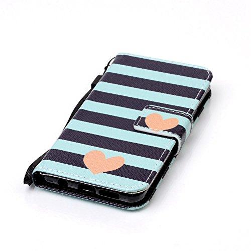 Custodia a portafoglio in vera pelle di alta qualità per iPhone SE, 5e 5S, con fessura portacarte, design creativo+ 1tappo anti polvere a fiore + 1penna stilo, Ecopelle Pelle, Three Owls, Apple iP Blue Stripe Love