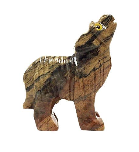 (Nelson Creations, LLC Wolf Soapstone Animal Carving Charm Totem Figurine |)