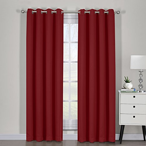 Royal Bedding Ava Red Curtains, Top Grommet Blackout, Triple Weave Blackout Window Curtain Panels, Pair/Set of 2 Panels with Tie Backs, 54Wx63L inches Each, by For Sale
