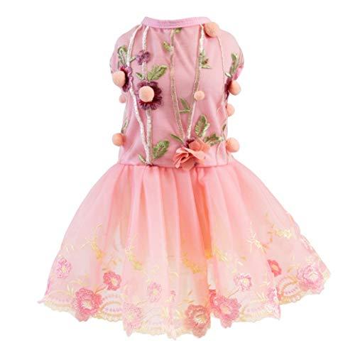 YOTATO Pet Spring Summer Embroidered Dog Dress Cute Tutu Skirt Puppy Clothes Princess Dog Wedding Dress -