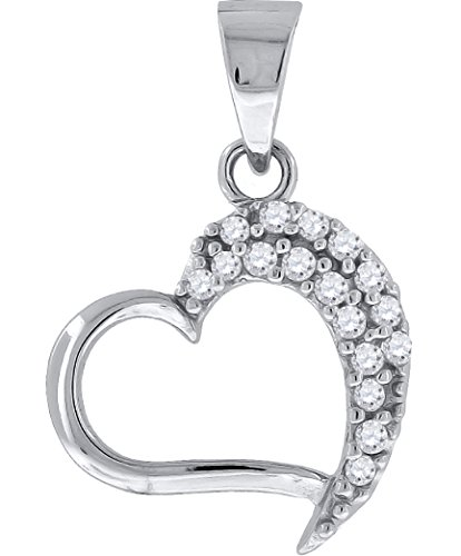 Jewels By Lux Sterling Silver Womens Round Cubic Zirconia CZ Heart Cluster Fashion Pendant Set With The Highest Quality Cubic Zirconia. (Round Prong Set Cluster Pendant)