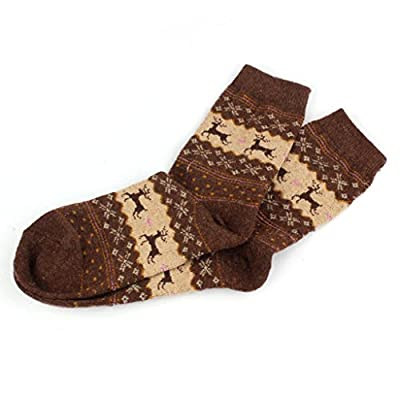 Hot ! Wool Socks, Ninasill Christmas Deer Design Casual Knit Wool Socks Warm Winter Mens Women