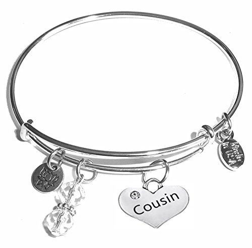 Message Charm (46 words to choose from) Expandable Wire Bangle Bracelet, in the popular style, COMES IN A GIFT BOX! (Cousin)