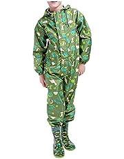 Xinvision Youth Onesies Raincoat - Kids Jumpsuit Rainwear Hood Watertight Cartoon Coverall