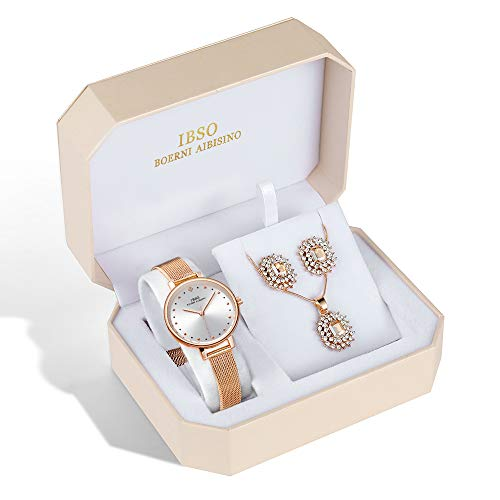 IBSO Women Jewelry Set Fashion Quartz Watches Rose Gold Crystal Diamond Necklace Earring Set Best Gifts for Women (8689-RG-SS-SET) from IBSO