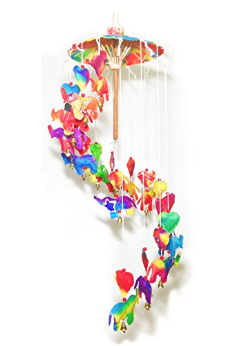 Him-Moei Decor home Mobile - Umbrella Rainbow Elephants spiral (Soho Ceiling Chandelier)