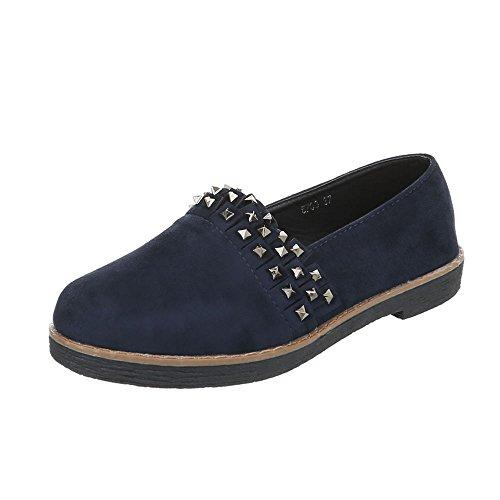 Women's Loafer Flats Block Heel Slippers at Ital-Design Dark Blue Yy5SciBh