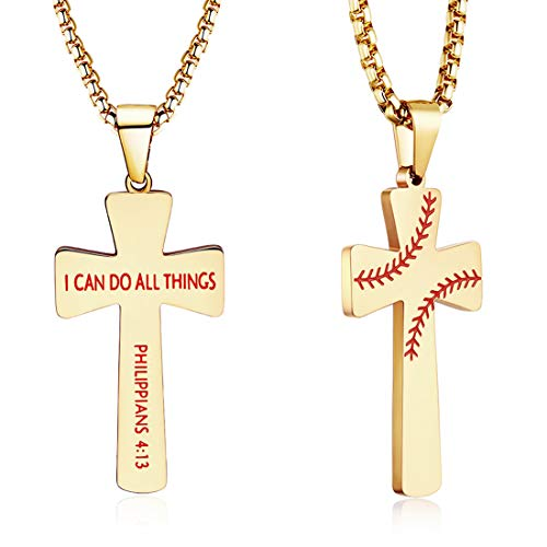 XIEXIELA Baseball Cross Pendant. I CAN DO All Things Strength Bible Verse Stainless Steel Necklace