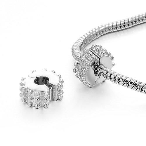- RUBYCA 40pcs Silver Color Clip Lock Stopper Clasp Beads DIY fit European Charm Bracelet Model 084