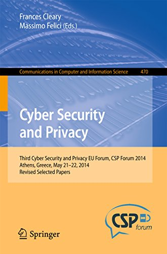 Download Cyber Security and Privacy: Third Cyber Security and Privacy EU Forum, CSP Forum 2014, Athens, Greece, May 21-22, 2014, Revised Selected Papers (Communications in Computer and Information Science) Pdf